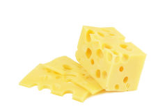 Cheese. With holes  on white background Stock Photography