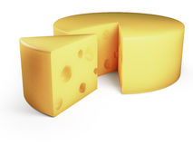 Cheese. Round cheese with one slice cut out Stock Photos