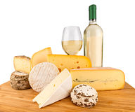 Cheese. Board with cheeses and white wine Stock Photography