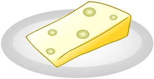 Piece of Cheese on dish isolated Stock Photo