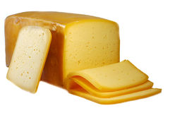 Cheese. Close up of cheese on white background with clipping path, shadow not included royalty free stock images