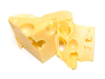 Cheese. Some slices of cheese on white. The isolated image on white. Shallow DOF Royalty Free Stock Photos
