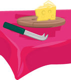 Cheese. Knife, cutting board on table stock illustration