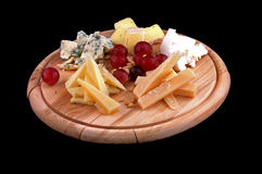 Cheese. Isolated on a black background Royalty Free Stock Photography