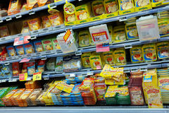 Cheese aisle Royalty Free Stock Photo