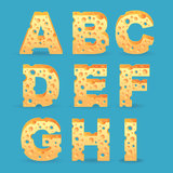 Cheese alphabet set. Royalty Free Stock Image
