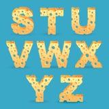 Cheese alphabet set. Vector illustration. Royalty Free Stock Photo