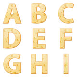 Cheese alphabet A to I Royalty Free Stock Photography