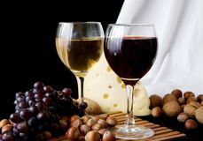 Cheese And Glass Of Red Stock Image