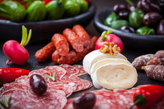 Cheese and Antipasti Royalty Free Stock Photos