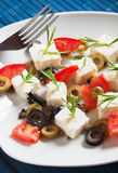 Cheese appetizer with olives and rosemary Stock Photos