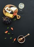 Cheese appetizer selection or whine snack set Stock Images