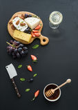 Cheese appetizer selection or whine snack set Stock Photography