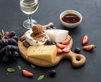 Cheese appetizer selection or whine snack set Stock Photos