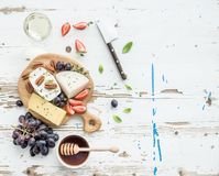 Cheese appetizer selection or wine snack set Royalty Free Stock Images