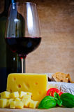 Cheese appetizer and wine Royalty Free Stock Image