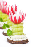 Cheese appetizers. Decorated cheese appetizers: Spiced cream cheese with spiral cucumber and radishes blossoms on pumpernickel Royalty Free Stock Photo