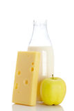 Cheese, apple and milk bottle Royalty Free Stock Photos