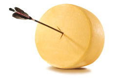 Cheese with arrow Royalty Free Stock Photos