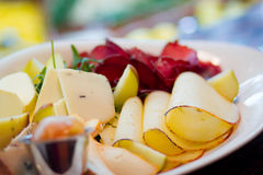 Cheese assortment. Freesh and tasty cheese assortment in restaurant Stock Image