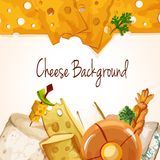 Cheese assortment background. Natural delicious tasty organic cheese food assortment colored background vector illustration Royalty Free Stock Photos