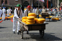 Cheese auction. On the market in Alkmaar, Netherlands. This traditional spectacle is every friday in summer and you can always find a lot of tourists. Foto was Stock Image