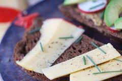 Cheese, avocado and radish sandwich on black bread Royalty Free Stock Photos