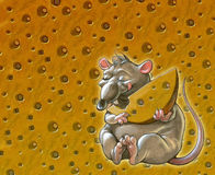 Cheese background with funny rat Royalty Free Stock Photography