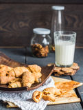 Cheese bagels biscuits from short pastry rolls, milk, dessert Royalty Free Stock Photography