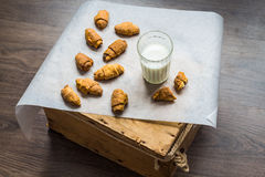 Cheese bagels biscuits from short pastry rolls, milk, dessert Royalty Free Stock Image