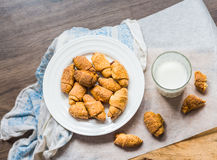 Cheese bagels biscuits from short pastry rolls, milk, dessert Stock Image