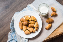 Cheese bagels biscuits from short pastry rolls, milk, dessert Stock Photos