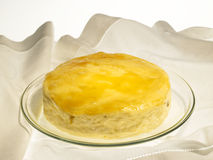 Cheese Baked Cake with apricot jam and raisins. On a white background Royalty Free Stock Images
