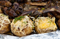 Cheese baked potatoes Royalty Free Stock Photo