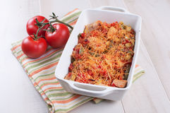 Cheese bakes vegetables and poultry casserole Stock Photo