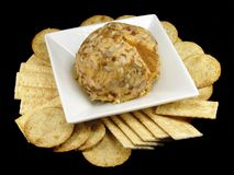 Cheese Ball and Crackers Stock Image
