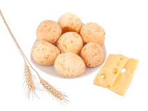 Cheese balls. With cheese and ears, isolated on a white background Stock Photo