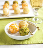 Cheese balls with almond and pistachio Royalty Free Stock Images