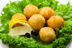 Cheese balls appetizer with olives Stock Photos