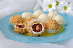 Cheese balls with cherries Royalty Free Stock Photos
