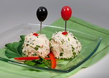 Cheese balls  with crabs. Snack - crabbing cheese balls on plate in restaurant Royalty Free Stock Photography