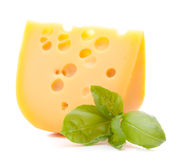 Cheese and basil leaves Royalty Free Stock Photo