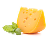 Cheese and basil leaves. Isolated on white background cutout Royalty Free Stock Photography