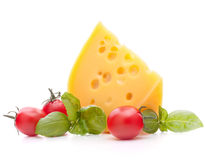 Cheese and basil leaves still life Royalty Free Stock Image