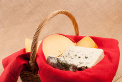 Cheese basket assorted Royalty Free Stock Photo