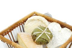 Cheese in basket close up Royalty Free Stock Images