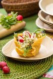 Cheese basket with salad Royalty Free Stock Image