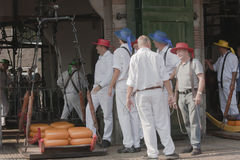 Cheese bearers near Weighing House, Alkmaar, Holla Stock Images
