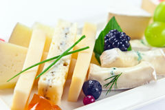 Cheese with berries Royalty Free Stock Images