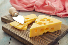 Cheese with big holes Stock Image